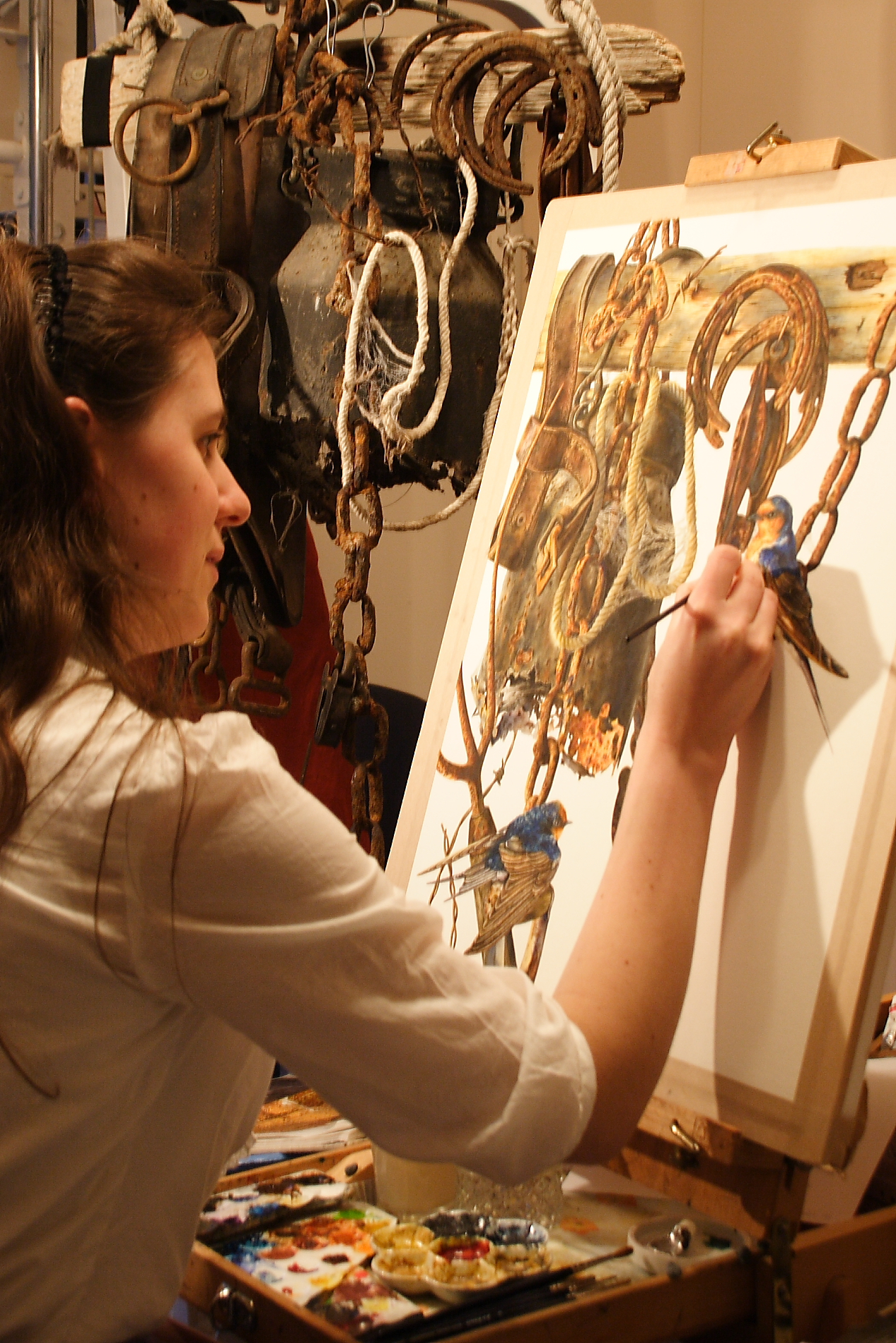 Artist Talitha Rosanne Brauchli painting in watercolor
